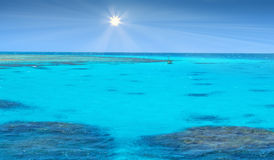 Crystal clear blue coral water of a Red Sea Stock Photo