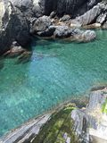 Crystal Clear Blue Waters Below Manarola Royaltyfri Foto