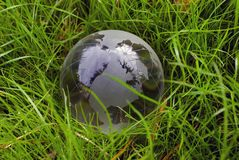 Crystal-clear globe in the green grass Stock Photos