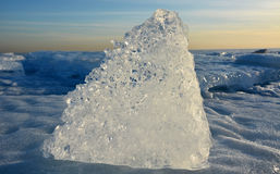 Crystal clear ice at sunset Stock Image