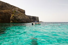 Crystal clear lagoon on Comino Island, Malta Royalty Free Stock Photography