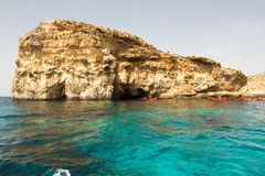Crystal clear lagoon on Comino Island, Malta Royalty Free Stock Images