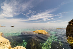 The crystal clear Mediterranean Sea. The Mediterranean Sea, seen from the shores of Gozo, part of Malta Royalty Free Stock Image
