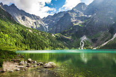 Crystal clear mountain lake and rocky mountains Royalty Free Stock Photo