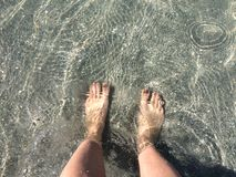 Crystal Clear Ocean. Gulf Coast, sand, toes, beach Royalty Free Stock Image