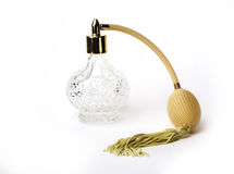 Crystal Clear Perfume Bottle with Gold Handle Royalty Free Stock Photo