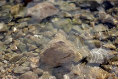 Crystal clear river water and stones Royalty Free Stock Images