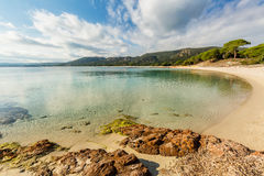Crystal clear sea at Palombaggia beach in Corsica Stock Image