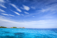 Crystal clear sea of tropical island Stock Photos