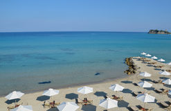 Crystal clear sea and white sand in Greece Royalty Free Stock Photo