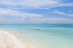 The crystal clear and shallow waters on the islands of the tropi Royalty Free Stock Image