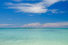 The crystal clear and shallow waters on the islands of the tropical Dry tortugas with the Loggerhead key lighthouse in royalty free stock photos