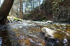 Clear water. Crystal clear spring water in the woods in Bushkill Pennsylvania Royalty Free Stock Image