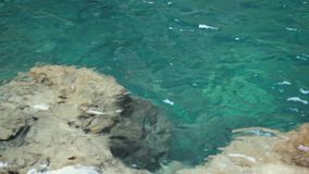 Crystal clear surf, the view through the water, depth and rocks. stock footage