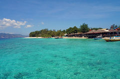 Crystal clear turquoise water off the Gili Meno's coast Royalty Free Stock Photography