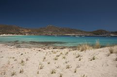 Crystal clear turquoise waters and yachts of Elafonisos island stock images