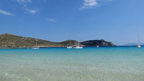 Crystal clear warm Greek sea Royalty Free Stock Photo