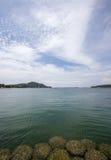 Crystal clear water with beautiful sky at Asadang BridgePier at Koh Sichang,Chonburi,Thailand Stock Image