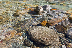 Crystal clear water and colorful stones of wild river verzasca Stock Photos