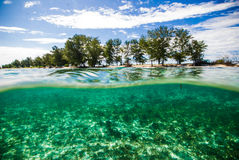 Crystal clear water kapoposang indonesia scuba diving diver Stock Photography