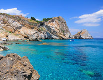 Crystal clear water on Kastro Beach, Greece Stock Images