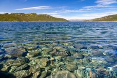 Crystal clear water of Lake Mosvatn Telemark Norway Royalty Free Stock Photos