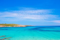 Crystal Clear Water of Mediterranean Sea at Arenal de Son Saura. Menorca Island, Spain Stock Photography