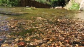 Crystal clear water in a mountain stones riverbed. Clear water passing in a mountain stones riverbed with a dark background stock footage