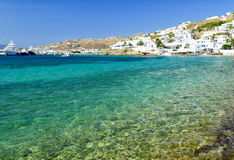 Crystal clear water in Mykonos island, Cyclades, Greece Stock Image