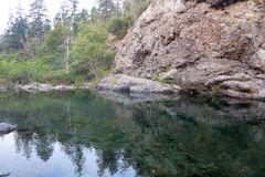 Swimming Hole on the Smith River. Crystal clear water on  the Smith River in California Stock Images