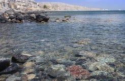 Crystal clear waters at Akrotiri Beach, Santorini Stock Photos