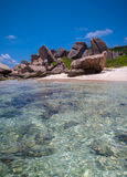 Crystal Clear Waters Of Anse Marron Stock Photography
