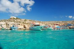 Crystal clear waters of the Blue Lagoon. On Comino, Malta Royalty Free Stock Photo