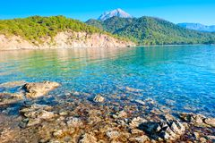 Crystal clear waters and mountains Royalty Free Stock Photo