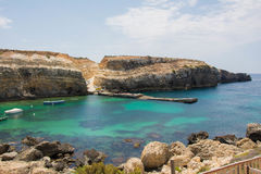 Crystal clear waters. Nice view of crystal clear waters in Melieha, Malta Royalty Free Stock Images