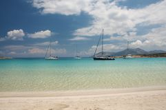 Crystal clear turquoise water beach. Crystal clear waters of Pori beach at Koufonissi island in Greece royalty free stock image
