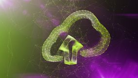 Crystal Cloud Sign i färgrik cyberspace Royaltyfria Foton