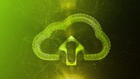 Crystal Cloud Sign i grön cyberspace Royaltyfri Bild