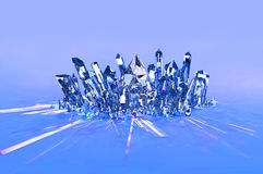 Crystal Cluster - Blue. A sparkling cluster of blue crystals on a soft blue background Stock Images