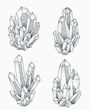 Crystal clusters tattoo design. royalty free illustration