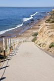 Crystal Cove Beach Trail. Steeply inclined footpath leads from atop bluffs to Crystal Cove State Beach in Southern California, in the city of Newport Beach Royalty Free Stock Images