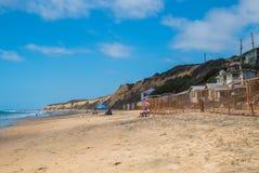 Crystal Cove is een mooi strand in Californië waar de oude plattelandshuisjes van het strand zijhuis worden hersteld stock afbeelding