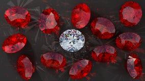 Crystal diamond among red rubies Royalty Free Stock Photography