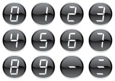 Crystal digits icons set. Royalty Free Stock Photos