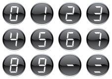 Crystal digits icons set. Royalty Free Stock Photos