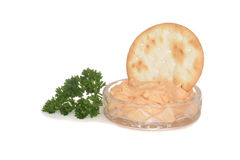 Crystal dish with salmon pate Stock Photography