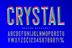 Crystal display font with facets, alphabet, letters and numbers. Swatch color control stock illustration