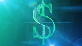 Crystal Dollar Symbol dans le cyberespace de rotation Images stock