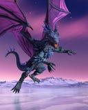 Crystal Dragon Descends in i iskallt landskap Royaltyfria Foton