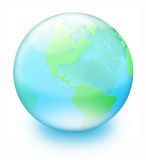 Crystal earth. Green land and blue sea -- crystal earth on white background Royalty Free Stock Photo